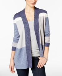 Charter Club Colorblocked Cardigan Only At Macy's Denim Blue