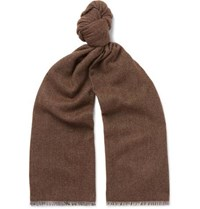 Anderson And Sheppard Pinhead Cashmere Wool Blend Scarf Brown