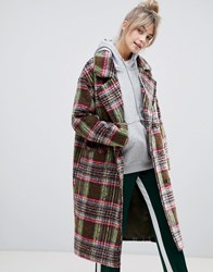 Pull And Bear Pullandbear Double Breasted Coat In Check Multi