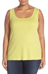 Plus Size Women's Xcvi Wearables Basic Cotton Tank Lime Zest