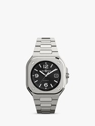 Bell And Ross Br05a Bl St Sst 'S Aviation Automatic Date Bracelet Strap Watch Silver Black