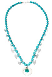 Chan Luu Beaded Stone And Silver Tone Necklace Turquoise