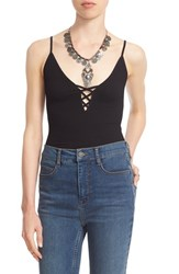 Women's Free People Lace Up Rib Knit Camisole Black
