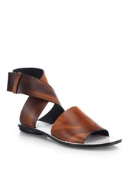 Proenza Schouler Leather Crossover Ankle Strap Sandals Brown