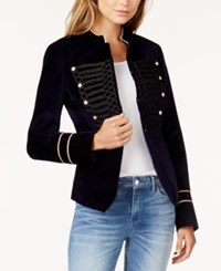 Guess Jody Embroidered Velvet Jacket Evening Blue