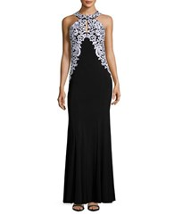 Betsy And Adam Embroidered Halter Gown