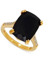 Macy's Onyx 7 1 2 Ct. T.W. And Cubic Zirconia Statement Ring In 14K Gold Plated Sterling Silver Yellow Gold