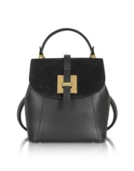 Le Parmentier Handbags Palazia Black Suede And Leather Small Backpack