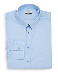Versace Trend Fit Hairline Striped Dress Shirt Blue White