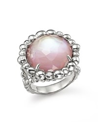 Michael Aram Sterling Silver Molten Ring With Pink Mother Of Pearl Doublet And Diamonds