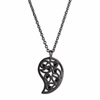 Sonal Bhaskaran Reya Ruthenium Paisley Necklace Spinel Black