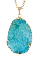 Eye Candy Los Angeles Blue Agate Pendant Necklace Metallic