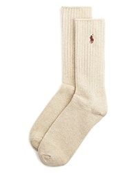Ralph Lauren Ribbed Crew Socks Taupe Heather