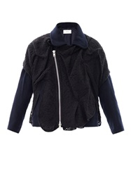 Julien David Lace Overlay Wool Biker Jacket