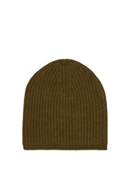 Denis Colomb Cashmere Knit Beanie Hat Khaki
