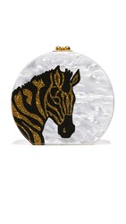 Edie Parker Oscar Zebra Head Bag White