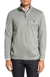 Ted Baker Men's Big And Tall London Funnel Neck Quarter Zip Pullover Grey Marl