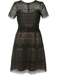 Marchesa Notte Short Sleeve Lace Dress Black