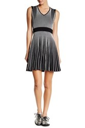 Opening Ceremony Contrast Striped Fit And Flare Dress Black