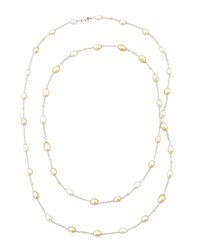 White Golden Keshi Pearl And Diamond Necklace 40'L Eli Jewels