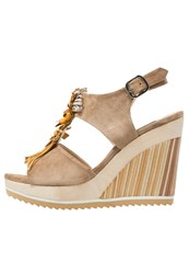 Zinda Kaya Wedge Sandals Camel Cognac