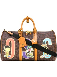 Moschino Looney Tunes Monogrammed Holdall Brown