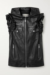 Michael Kors Collection Ruffled Leather Vest Black
