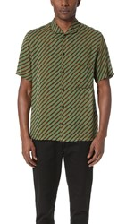Christophe Lemaire Spread Collar Shirt Tobacco Green