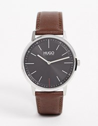 Hugo 1520014 Exist Leather Watch In Brown