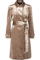 Brunello Cucinelli Cotton Blend Velvet Trench Coat Bronze