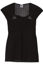 M Missoni Paneled Tulle And Cotton Blend Top Black