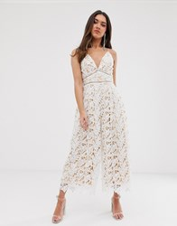 Love Triangle Plunge Front Wide Leg Lace Jumpsuit In White