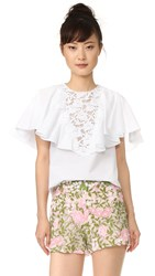 Giambattista Valli Ruffled Short Sleeve Blouse White