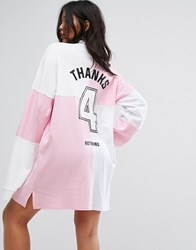 The Ragged Priest Oversized Rugby Shirt Dress With Back Print Pink And White