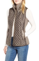 Gallery Quilted And Knit Vest Smoke