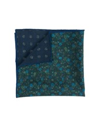 The Tie Bar Wool Floral Pocket Square Green