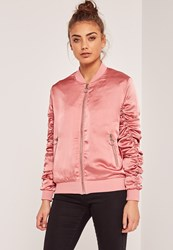 Missguided Ruched Sleeve Laced Bomber Jacket Pink Rose
