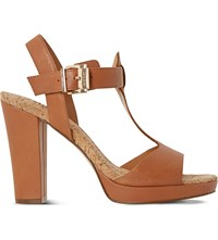 Dune Ismin Leather Heeled Sandals Tan Leather
