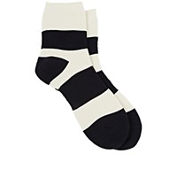 Yohji Yamamoto Pour Homme Men's Striped French Terry Knit Crew Socks Ivory
