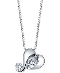 Proud Mom Diamond Heart Pendant Necklace 1 7 Ct. T.W. In 14K White Gold