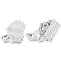 Tateossian Playing Cards Enamelled Rhodium Plated Cufflinks Silver
