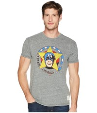 The Original Retro Brand Vintage Short Sleeve Tri Blend Captain America Tee Streaky Grey T Shirt Pewter