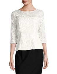 Alex Evenings Boatneck Lace Top Ivory