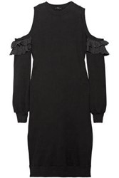 Clu Ruffled Silk Trimmed French Cotton Terry Dress Black