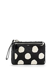 Mcm Leather And Calf Hair Wristlet Pouch Black White