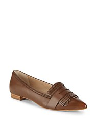 Saks Fifth Avenue Kayla Fringed Leather Loafers Cognac