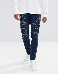 Black Kaviar Skinny Jeans In Dark Blue With Distressing