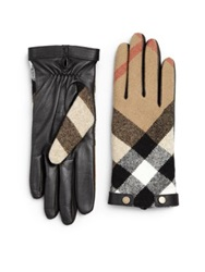 Burberry Checked Leather Gloves Black