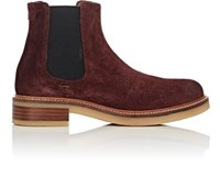 Barneys New York Women's Crepe Sole Suede Chelsea Boots Burgundy
