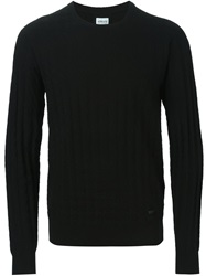 Armani Collezioni Crew Neck Textured Sweater Black